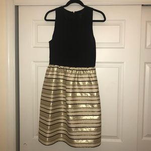 Black & Gold Striped J. CREW Formal Dress (Size 8)